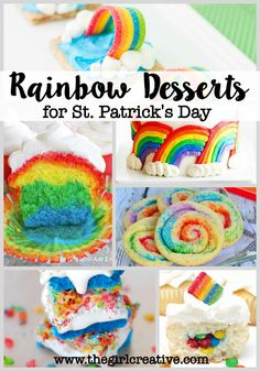 Rainbow themed desserts for St. Patrick's Day - Rainbow cookies, cakes, cupcakes, bars, breakfast - tons of ideas to make St. Patrick's Day fun!