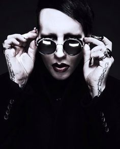 Marilyn Manson with his new tattoos