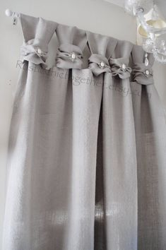 Burlap wide ruched tabs curtain- silver jewelry- ash gray burlap in 2019 Tab Curtains, Burlap Curtains, Blackout Curtains, Ruffled Curtains, Rideaux Design, Farmhouse Window Treatments, Curtain Length, Farmhouse Windows, Chic Shop