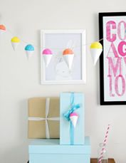 DIY snowcone garland. perfect for a summer birthday! free tutorial