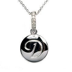 "Sterling silver ""D"" initial necklace with genuine diamonds. #initial #hudson_poole_jewelers"