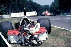 "Nurburgring F1 GP, 1975  Ian Ashley's Williams, after he lost control of it (some of the other drivers named him ""Crashley""). Here, he broke both ankles, but went on racing. He is still alive as of 2017."