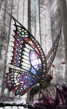 The Gothic Butterfly ~ Photoshop illustration of a butterfly adorned in Gothic architecture. 2009, David Aguirre Hoffman