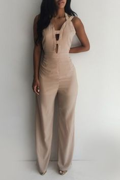 Sexy Solid Color Hollow Out Backless Bodycon Jumpsuit For Women
