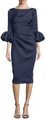Jovani Puffy-Sleeve Pleated-Front Sheath Dress