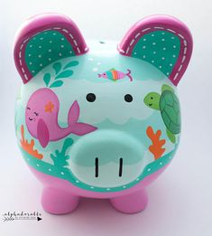 Mermaid Ocean Personalized Piggy bank in Hot Pink and Turquoise Hand Painted Ceramics, Porcelain Ceramics, The Little Couple, Personalized Piggy Bank, Mermaid Bedroom, Painted Pots, Baby Shower Gifts, Hot Pink, Just For You