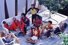 exoticism - Stephen Burrows and friends relax on Fire Island (Burrows in the red fringe top),