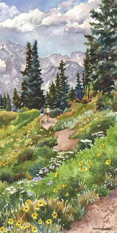watercolor landscape Colorado Hiking Trail Painting Painting - Two Hikers by Anne Gifford Watercolor Landscape Paintings, Landscape Drawings, Watercolour Painting, Art Drawings, Watercolor Pictures, Landscape Artwork, Contemporary Landscape, Paintings Of Landscapes, Landscapes To Paint