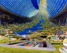 """Science fiction art: NASA Ames and Stanford University conducted three space colony studies in the which resulted in a number of artistic renderings of various space colony concepts. This """"Torus Interior"""" concept was visualized by artist Don Davis. Life In Space, Space City, Space Age, Space Colony, 70s Sci Fi Art, Poster Design, Science Fiction Art, Space Station, Future City"""