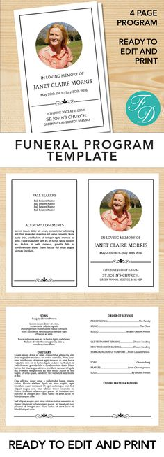 Pink flowers Printable Funeral program ready to edit \ print - program for a funeral