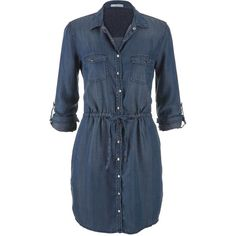 maurices Chambray Shirtdress In Dark Wash (80 BAM) ❤ liked on Polyvore featuring dresses, vestidos, blue, long shirt dress, long button front dress, button front dress, chambray shirt dress and blue dress