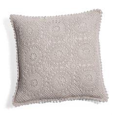 Housse de coussin Crochet gris