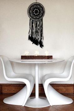 Black Magic BOHO Dreamcatcher Crochet Doily Lace by Dreamcatcher Crochet, Crochet Doilies, Crochet Lace, Raven Feather, Dream Catcher Boho, Black Braids, Black Magic, Black Laces, Deco