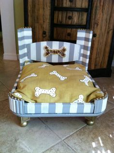 Hand made hand painted dog pet bed with hand by LucyDesignsonline, $250.00