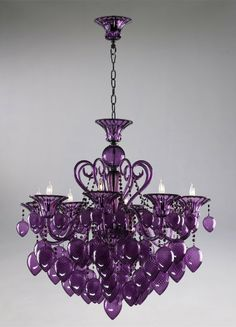 Retro Glamour Purple Glass Chandelier