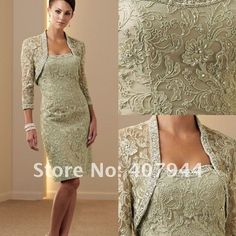 08f3f49500 Hot sale satin knee length lace mother of the bride dress  mother dress with  beading