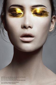 "STYLING Model Face <~> :: Golden Eyes - Model Shu Pei / Photography Bojana Tatarska / Hair Yusuke Taniguchi / Make-up Alice Ghendrih / ""Trust In Dreams"" - Glass Magazine, Issue Fall 2012 Makeup Inspo, Makeup Art, Hair Makeup, Makeup Ideas, Makeup Hacks, Makeup Trends, Nice Makeup, Makeup Tips, Make Up Looks"