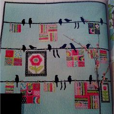 Bird on a Wire Quilt from Quilt Mania Magazine volume 88, March / April.  By Nannette Holmberg for the simple thimble.   Love this quilt.  Must make for my bedroom quilt ASAP.  This is the fresh modern vintage look I want!