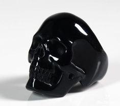Black Obsidian Crystal Skull Ring