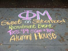 Chalk up the campus to promote a chapter event