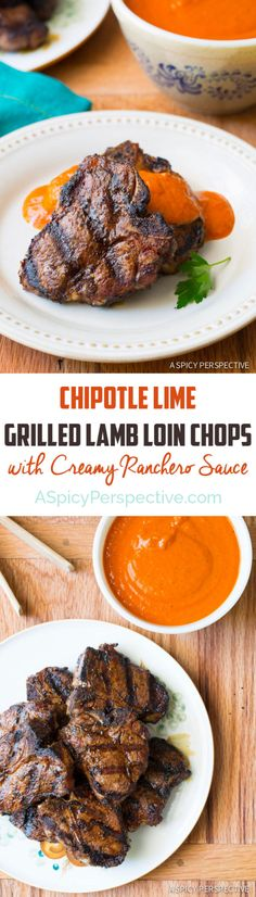 Easy Chipotle Lime Grilled Lamb Chops with Ranchero Sauce  #Recipe