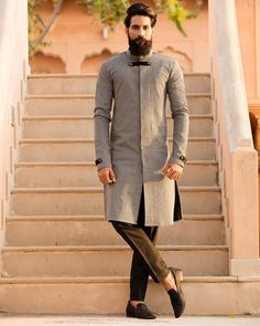 Make a mark of style at your festivities and celebrations this season ! MrRanawat Rivesse… is part of Wedding dress men - Mens Indian Wear, Mens Ethnic Wear, Indian Groom Wear, Indian Men Fashion, Mens Fashion Wear, Kurta Pajama Men, Kurta Men, Wedding Dresses Men Indian, Wedding Dress Men