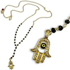 Rosary Evil Eye Hamsa Necklace, in gold plated sterling silver with faceted black cubic zirconia.