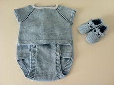 Jersey de manga corta, cubrepañal y cangrejeras - azul