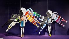 "SPRING COLORS, ""The best color in the world is the one that looks good on you"", (By ABC Manichini/Mannequins), pinned by Ton van der Veer Window Display Retail, Retail Windows, Store Windows, Vitrine Design, Decoration Vitrine, Clothing Displays, Visual Display, Merchandising Displays, Window Design"