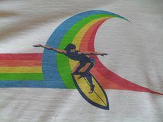 Vintage 1970s Hawaii Surf T-Shirt Surfer Surfboard Crazy Shirts Los Angeles CA