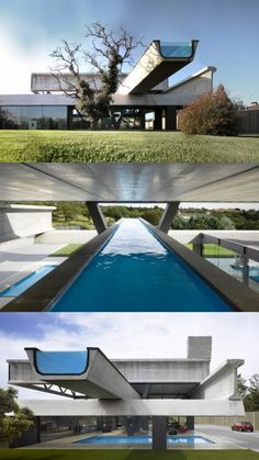Hemeroscopium House. This Spanish residence is made entirely of precast concrete moulds, and that insane lap pool is cantilevered over the property.