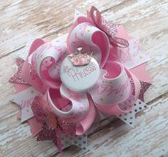 Princess Hair Bow  Pink Princess Boutique by JustinesBoutiqueBows