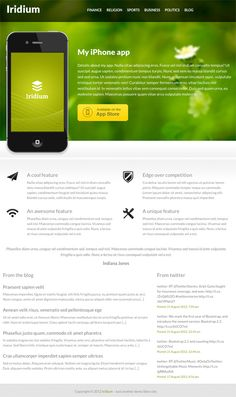 Iridium is a WordPress theme to be used as a landing page for mobile apps. The homepage of the theme is built in such a fashion to showcase an iPhone app and its features, screenshot etc.Iridium co… Responsive Layout, Responsive Web Design, Blog Iphone, Iphone App, Free Html Website Templates, Mobile Landing Page, Software, Web 2.0, Premium Wordpress Themes