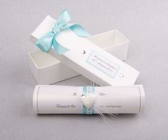 Scroll in a box with aqua ribbon and diamante heart at front - 2 piece of rolled scroll 1 information sheet and 1 invite