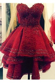 Burgundy Lace Sweetheart Homecoming Dresses,A-line Gorgeous Party Dresses,Homecoming