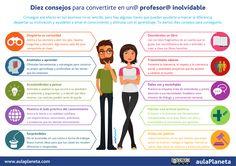 "Hola: Compartimos una interesante infografía sobre ""10 Consejos para Convertirte en un Profesor Inolvidable"" Un gran saludo.  Visto en: aulaplaneta.com  Solicitar Información ____ :) __..."