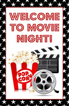 Movie night poster sign - Welcome to movie night birthday party movie night drive in movie party Movie Theater Party, Movie Night Party, At Home Movie Theater, Family Movie Night, Backyard Movie Theaters, Backyard Movie Nights, Deco Candy Bar, Movie Themes, Party Signs