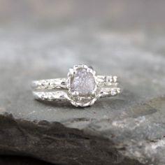 Raw Diamond Wedding Set - Antique Filigree Style - Matching Engagement Ring and Wedding Band - Rough Diamond Rings - Wedding Rings on Etsy, $420.00
