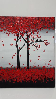 Thanks SO MUCH for Visiting my Gallery.  To see close ups please click on above images    -Artwork description: Trees and birds002  -Size:12 x 18 x 0.5 CANVAS WILL ARRIVE WIRED READY TO HANG. -Medium: acrylic on canvas.  -Dominant Colors: red, black, grey,white.  -FINISH: Coats of Varnish have been Applied to the Painting for Protection.    Thank you so much for your interest in my art