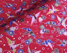 Per 1//4 Metre Makower Patchwork Fabric Kimono Cranes Red