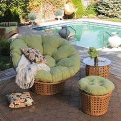 Juniper All-Weather Wicker Papasan Chair Set at the Foundary
