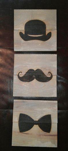 Gentleman Wall Art. complete w Mustache Bolo by VersesRusticDecor