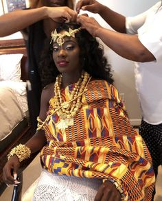 Image may contain: one or more people African Wedding Attire, African Attire, African Wear, African Fashion Dresses, African Dress, African Traditional Dresses, Traditional Outfits, Ghana Traditional Wedding, Ghana Wedding