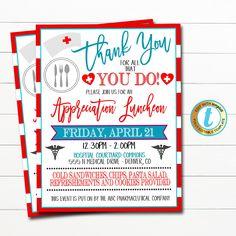 Nurse Appreciation Luncheon Invitation | TidyLady Printables Nurse Appreciation Week, Teacher Poems, Cold Sandwiches, Grateful For You, Text Color, Health Care, Invitations, Templates, Event Flyers