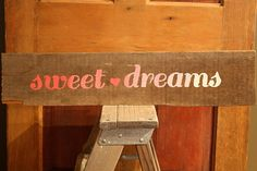 Rustic Sweet Dreams Reclaimed Salvaged Wood Home Decor Bedroom Nursery Sign by SalvageOwl, $24.99