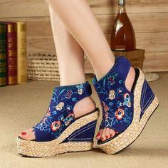 Womens Denim Peep Toe Embroidery High Wedge Platform Heel straw plaited Scandals