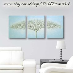 "SALE Canvas Art Wall Hangings Original Tree Painting Abstract Modern Art 36""x16"" Home & Living Wall Art Canvas Light Blue Home Decor Trees"