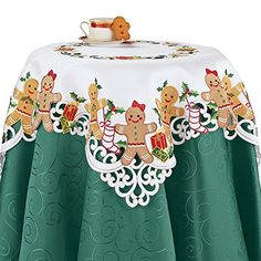 Collections Etc Embroidered Christmas Gingerbread Gifts Table Linens, Square Nordic Christmas, Christmas Kitchen, Christmas Gingerbread, Linen Tablecloth, Table Linens, Collections Etc, Linen Store, Gift Table, Invitations