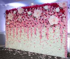 Shades of Pink Wall Flower for Rental Wide x High Quince Decorations, Wedding Stage Decorations, Birthday Decorations, Flower Decorations, Flower Wall Backdrop, Wall Backdrops, Flower Wall Wedding, Background Decoration, Pink Walls