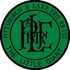 """Pittsburg & Lake Erie RailRoad Company Logo, The Little Giant  -  The Pittsburgh and Lake Erie Railroad (P&LE), also known as the """"Little Giant"""", was formed in 1875.  Company headquarters were located in Pittsburgh, Pennsylvania. The line connected Pittsburgh in the east with Youngstown, OH at nearby Haselton, OH in the west and Connellsville, PA to the east.  The tonnage that it moved was out of proportion to its route mileage  -  """"The Little Giant""""."""